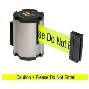 "Lavi Industries Retractable Belt Barrier, Satin Wall Mount, 13'L ""Caution - Do Not Enter"" Belt"