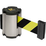Lavi Industries Retractable Belt Barrier, Satin Wall Mount, 13'L Safety Black/Yellow Belt