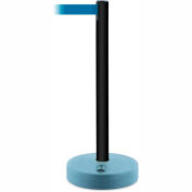 Tensabarrier Crowd Control, Queue Stanchion Retractable Barrier Plastic Post, Black 7.5' Blue Belt