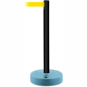 Tensabarrier Crowd Control, Queue Stanchion Retractable Barrier Plastic Post, Black 7.5' Yellow Belt