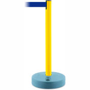 Tensabarrier Crowd Control, Queue Stanchion Retractable Barrier Plastic Post, Yllw W/ 7.5' Blue Belt