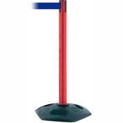 Tensabarrier Red Heavy Duty Post 7.5'L Blue Retractable Belt Barrier