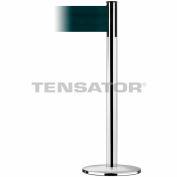 Wide Webbing Tensabarrier Polished Chrome - Dark Green Belt