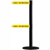 """Tensabarrier Advance Dual Line 7.5' Black Retractable Belt Barrier - Blk/Ylw """"Caution-Do Not Enter"""""""