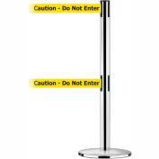 "Tensabarrier Safety Crowd Control, Queue Dual Stanchion Post, Pol Chrome W/ 7.5' Yllw ""Caution"" Belt"