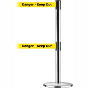"Dual Line Tensabarrier Polished SS - Yellow Belt ""Danger Keep Out"""