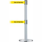 """Dual Line Tensabarrier Satin SS - Yellow Belt """"Out of Service"""""""