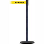 "Slimline Tensabarrier Yellow Belt ""Out of Service"" - Black Wrinkle"
