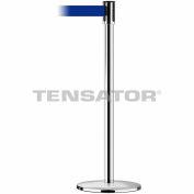 Tensabarrier Safety Crowd Control, Stanchion Post, Polished Chrome, 7.5'L Blue Retractable Belt