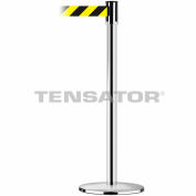 Tensabarrier Safety Crowd Control, Stanchion Post, Polished Chrome, 7.5'L Blk//Ylw Retractable Belt