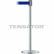Tensabarrier Safety Crowd Control, Queue Stanchion Post, Satin Chrome W/ 7.5' Blue Retractable Belt
