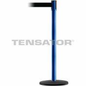 Tensabarrier Safety Crowd Control, Queue Stanchion Post, Blue W/ 7.5' Black Retractable Belt Barrier