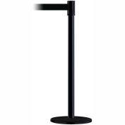 Tensabarrier Safety Crowd Control, Queue Stanchion Post, Black W/ 7.5' Blk Retractable Belt Barrier