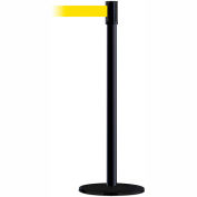 Tensabarrier Safety Crowd Control, Queue Stanchion Post, Blk W/ 7.5' Yellow Retractable Belt Barrier