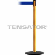 Tensabarrier Safety Crowd Control, Queue Stanchion Post, Yllw W/ 7.5' Blue Retractable Belt Barrier