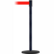 Tensabarrier Crowd Control, Queue Stanchion Post, Black Wrinkle W/ 7.5' Red Retractable Belt Barrier