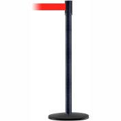 Tensabarrier Crowd Control, Queue Stanchion Post, Black Wrinkle W/ 7.5' Red Retractable Belt Barrier
