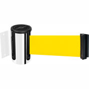 Tensabarrier Safety Crowd Control, Retractable Wall Mount Barrier, Polished Chrome W/ 13' Yllw Belt