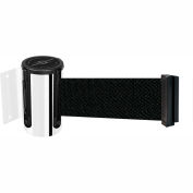 "Tensabarrier Safety Crowd Control, Retractable Wall Mount Barrier, Pol Chrome W/ 7'6"" Black Belt"