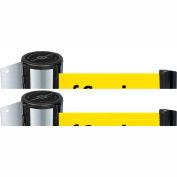 Tensabarrier Satin Chrome Mini Wall Mount 7.5'L BLK/YLW Out of Service Retractable Belt Barrier