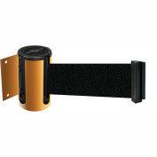 Tensabarrier Yellow Mini Wall Mount 7.5'L Black Retractable Belt Barrier