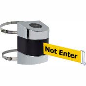 "Tensabarrier Crowd Control, Retractable Clamp Wall Mount Barrier Pol Chrome 15' Yllw ""Caution"" Belt"