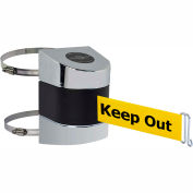 Tensabarrier Pol Chrome Clamp Wall Mount 15'L BLK/YLW Danger-Keep Out Retractable Belt Barrier