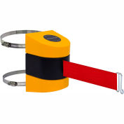 Tensabarrier Crowd Control, Retractable Clamp Wall Mount Barrier, Yellow 24' Red Belt And Wire Clip