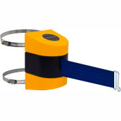 Tensabarrier Crowd Control, Retractable Wall Mount Barrier, Yellow, 24'L Blue Belt, Wire Clip