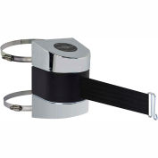 Tensabarrier Crowd Control, Retractable Clamp Wall Mount Barrier, Polished Chrome W/ 30' Black Belt
