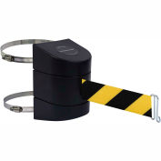 Tensabarrier Safety Crowd Control, Retractable Wall Clamp Mount Barrier, Black W/ 30' Blk/Yllw Belt