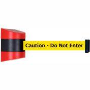 "Tensabarrier Safety Crowd Control, Retractable Wall Mount Barrier, Red W/ 30' Yellow ""Caution"" Belt"