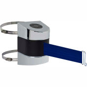 Tensabarrier Safety Crowd Control, Retractable Wall Clamp Mount Barrier, Pol Chrome W/ 24' Blue Belt