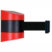 Tensabarrier Safety Crowd Control, Retractable Wall Mount Barrier, Red With 24' Black Belt
