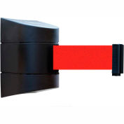 Tensabarrier Safety Crowd Control, Retractable Wall Mount Barrier, Black With 24' Red Belt