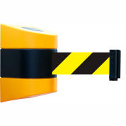 Tensabarrier Safety Crowd Control, Retractable Wall Mount Barrier, Yellow With 24' Black/Yellow Belt