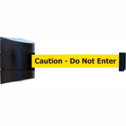 "Tensabarrier Safety Crowd Control, Retractable Wall Mount Barrier, Blk W/ 15' Yellow ""Caution"" Belt"