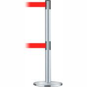 Tensabarrier Crowd Control, Queue Dual Stanchion Post, Satin Chrome W/ 7.5' Red Retractable Belt