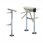 3-Arm Turnstile with Posts and Floor Flange, Left Hand Register, No Counter