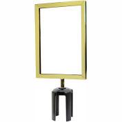 "Tensabarrier Sign Frame Post Stanchion 7X11"" Polished Brass"
