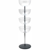 Tensabarrier Impulse Merchandising Tower 4-Tier, Polished Chrome