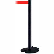 Wheeled Base Stanchion, Rollabarrier™ Black Wrinkle Post, 13 Ft. Red Belt