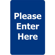 """Acrylic Sign - """"Please Enter Here"""" - Blue"""