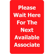 "Tensabarrier Red 7""x11"" 1/4"" Classic Acrylic Sign - Please Wait Here For Next Avaliable Associate"