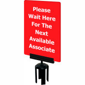"Tensabarrier Acrylic Sign - Please Wait Here For The Next Available Associate 7X11"" Red"