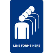 """Acrylic Sign - Blue """"Line Forms Here"""""""