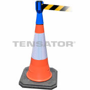 Tensabarrier Safety Crowd Control, Queue Cone Topper, Blue With 7.5' Black/Yellow Retractable Belt