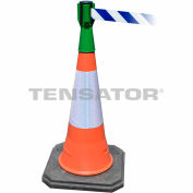 Tensacone Topper - Green with Blue and White Diagonal Striped Belt