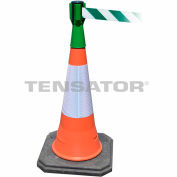 Tensacone Topper - Green with Green and White Diagonal Striped Belt