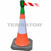 Tensabarrier Green TensaCone Topper 7.5'L Red/White Chevron Retractable Belt Barrier